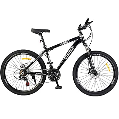 """Viribus Adult Mountain Bike with 26 Inch Wheel Derailleur Lightweight Sturdy Aluminum Frame Bicycle with Dual Disc Brakes Front Suspension Fork for Men (Black1, 26""""/21-Speed)"""