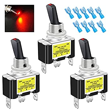 Twidec/3Pcs Rocker Lighted Toggle Switch 30A 12V DC SPST ON/Off 3Pin Car Automative Boat with Red LED Illuminated Light