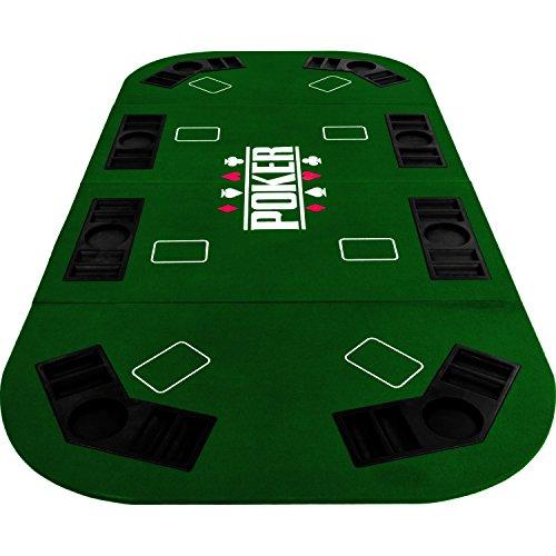 Maxstore Faltbare XXL Pokerauflage für bis zu 8 Spieler, Maße 160×80 cm, MDF Platte, 8 Getränkehalter, 8 Chiptrays, grün - 6