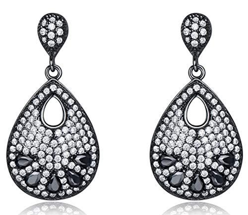 XIRENZHANG Pendientes para mujer de plata de ley 925, ovalados, color negro, con piedras preciosas