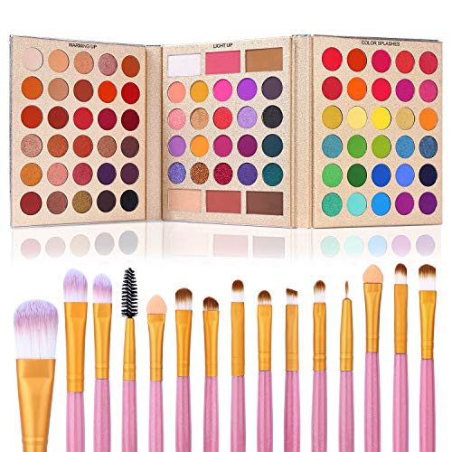 UCANBE Pro Eyeshadow Palette + 15 Pcs Makeup Brush Set,Pigmented Makeup Pallet with Brushes, Matte Shimmer 86 Colors Gift Set,Eye Shadow Highlighters Contour Blush Powder Cosmetic Kit