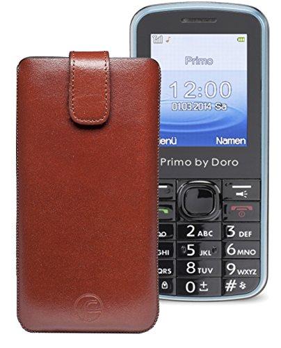 Original Favory ® Etui Tasche für / Primo 305 by Doro / Leder Etui Handytasche Ledertasche Schutzhülle Hülle Hülle *Lasche mit Rückzugfunktion* In Braun