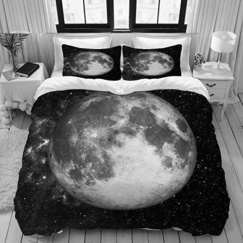 SDBUYW-ZQ 3D Print Bedding Sets with 2 Pillow Shams,Full Moon in Space Over Stars of This Furnished by NASA Astronomy,3 Piece Bedding Set with Duvet Cover Sets King Size