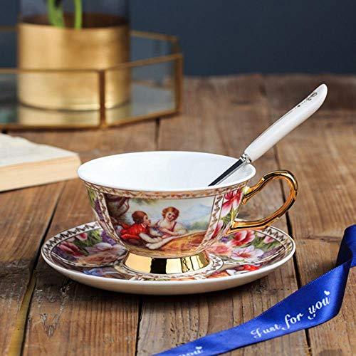 WYCYZJ Europese luxe koffiekopje kleine porselein latte theekop set met handvat schotel melk cup huishoudelijke container 250 ml, R