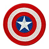 Captain America Patch - Embroidered Superhero Shield - Avengers TV Series Emblem - Iron On Round Patches - Size: 3.1 inches