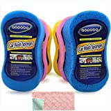 Car Wash Sponges, Multi-Use Cleaning Sponge, Easy Grip Sponge, Large sponges for Washing Cars, Bone Design Cleaning Polishing Foam for Dishes Washing, Vehicle, Bathroom and Kitchen Cleaning, 6Pcs