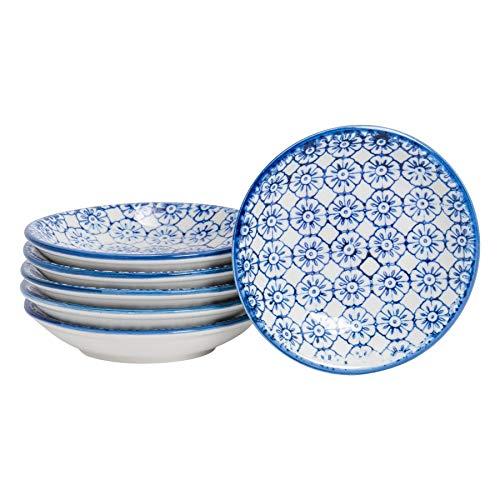 Piattino da Salsa/Dip/condimenti - Ideale per Riso, Salsa di soia, Olio - 101 mm - Fiori Blu - 6 Pezzi
