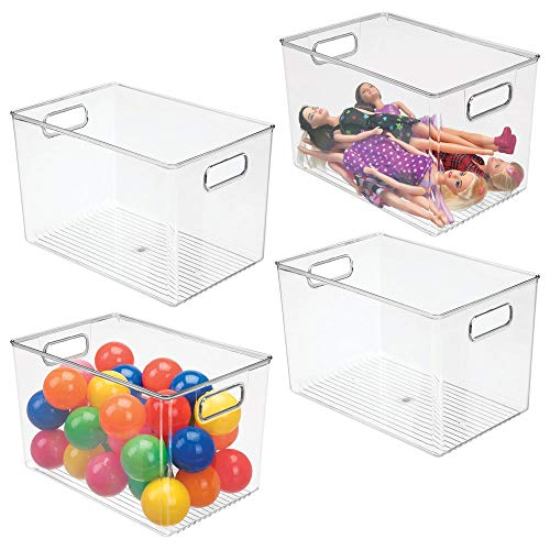 mDesign Deep Plastic Home Storage Organizer Bin for Kids Toy Room