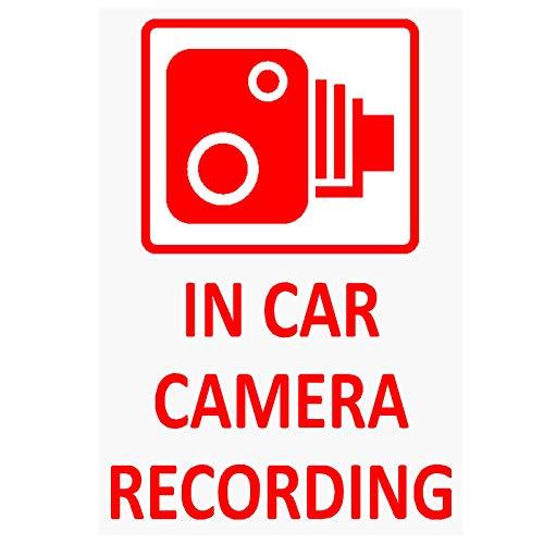 4x IN Auto-Kamera Aufnahme Fenster stickers-red/clear-60X 87mm-cctv sign-van, LKW, LKW, Taxi, Bus, Mini Cab, Minicab, selbstklebendem Vinyl signs-go Pro, Dashcam