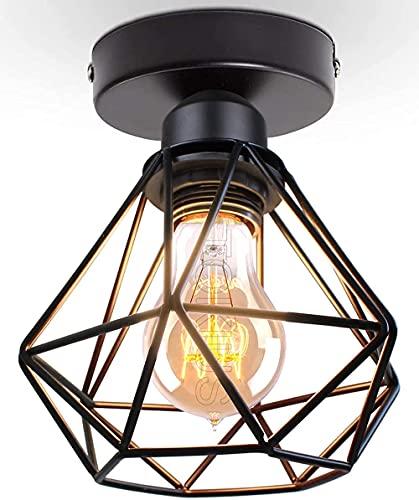 lampadario ferro TOKIUS Plafoniera vintage E27 Lampadario Soffitto Industriale Metallo Gabbia ferro Nero per Corridoio Portico Camera da Letto (1 pezzo-A)