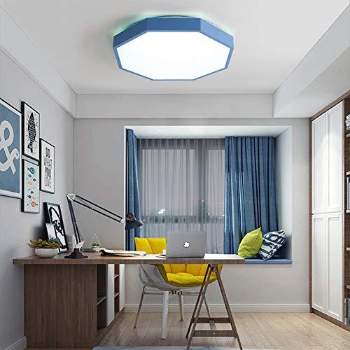 30W plafondlamp - LED-plafondlamp met intelligente besturing en afstandsbediening. Gratis bekabeling. Geschikt voor woonkamer, keuken, badkamer, slaapkamer. Drie jaar gratis garantie blauw