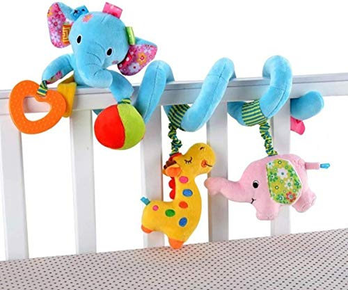 VX-star Baby Pram Crib Ornament Hangings Blue Cute Little Elephant Shape Design Spiral Plush Toys Stroller and Travel Activity Toy
