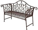 Spetebo Metall Gartenbank Rostbraun mit Verzierungen - 2 Sitzer Vintage Bank - Sitzbank Parkbank Metallbank