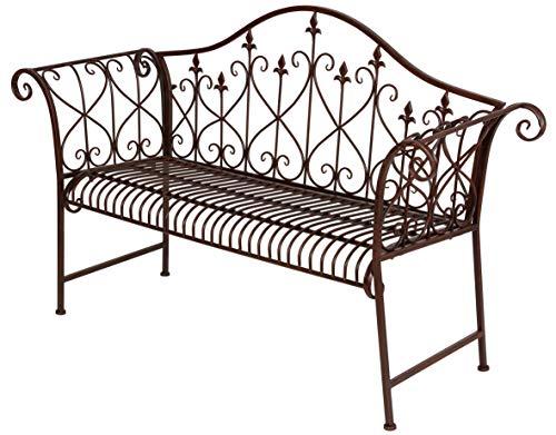 Spetebo metalen tuinbank roestbruin met versieringen - 2-zits vintage bank - zitbank parkeerbank metalen bank
