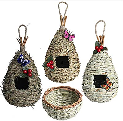 NEKLJJ Hand Woven Hummingbird House for Outside - Bird House for Outdoors Hanging Set of 3 Bird Houses and 1 Bird Nest for Outside Decorations with Holly Leaf and Artificial Butterfly