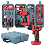 Hi-Spec 57 Piece 8V Electric Power Drill Driver & Home DIY Tool Kit Set. All Purpose Hand Tools for Household & Office DIY Repair & Maintenance. All In a Compact Carry Case