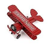 Evilandat Vintage Avion Décoration Modèle Biplan Avion en Fer Miniature Décoration de Maison Collection Ornement Bureau Vin Rouge