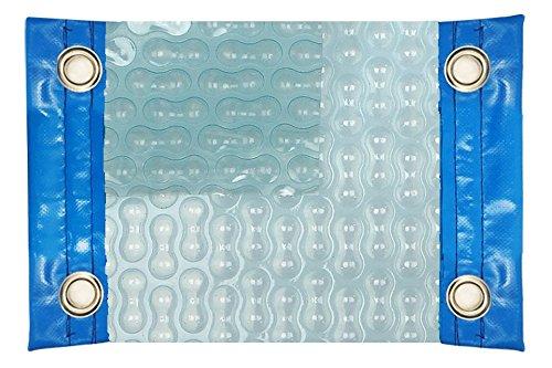 Thermodeken (thermo-afdekking voor zwembad) van 500 micron GEO Bubble Solar Energy met versterking aan de zijkanten + ogen van roestvrij staal + beschermende afdekking voor de afdekking op zonne-energie + telescopische roller 81 mm. 11 x 4.5m.