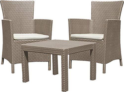 Allibert 219990 Lounge Set Rosario Balcony 2x Sessel und 1x Tisch, Rattanoptik, Kunststoff, cappuccino