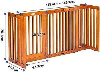 Mirui Autoportant Clôture Pet bébé en Bois Pliable Pet Porte avec Support Pieds barrière intérieur Pet Porte Panneaux d'escalier Pet Clôture (H 70.1cm)