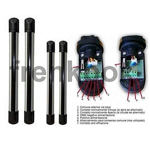 Par Barreras Anti Alerta con 3 Sensores Infrarrojo, Inalámbrico o Cable 433mhz