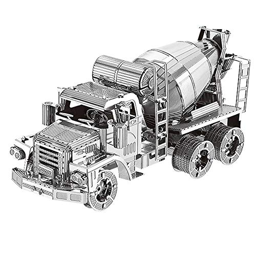 3D Metal Puzzle Cement Mixer Engineering Vehicle Assembly Model 3D Metal Model Kit, DIY Cut Model Puzzle Toy, for Decoration Collection Toy