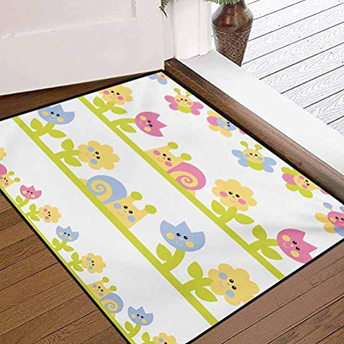 Anmaseven Kids Super Absorbent Mud Mats for Any Hard Surface Floors Cartoon Character Bees Tulip and Daisy Flowers Snails Garden Pattern Baby Blue Pale Green Yellow17 x 46.8 Inches