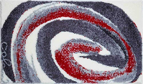 Grund COLANI Exklusiver Designer Badteppich 100% Polyacryl, ultra soft, rutschfest, ÖKO-TEX-zertifiziert, 5 Jahre Garantie, Colani 42, Badematte 60x100 cm, grau-rot