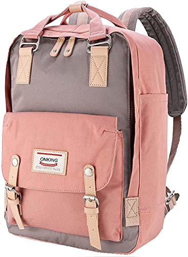 Rucksack Damen 16,5 Zoll, ONKING Premium Langlebiger Moderner Laptop Schulrucksack Wasserdicht mit Anti Diebstahl Tasche für Schule Reisen Arbeiten Uni.- Rosa