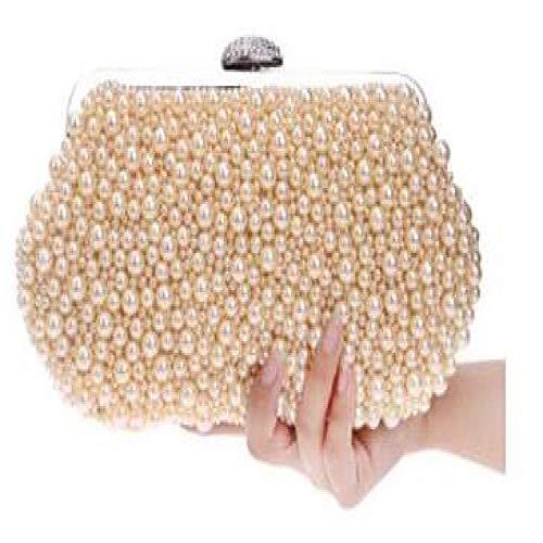 Umhängetasche Damen Clutch Perlen Frauen Vintage Abendtaschen Imitation Perlmutt Geformte Frauentasche Umhängetaschen Clutch Tasche Für Hochzeit Mini (Maxlength <20Cm) Ym1064Champagn
