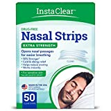 Instaclear Extra-Strength Nasal Breathing Strips Clear 50 ct | Works Instantly, Nasal Congestion Relief, Stops Snoring, Cold & Allergy