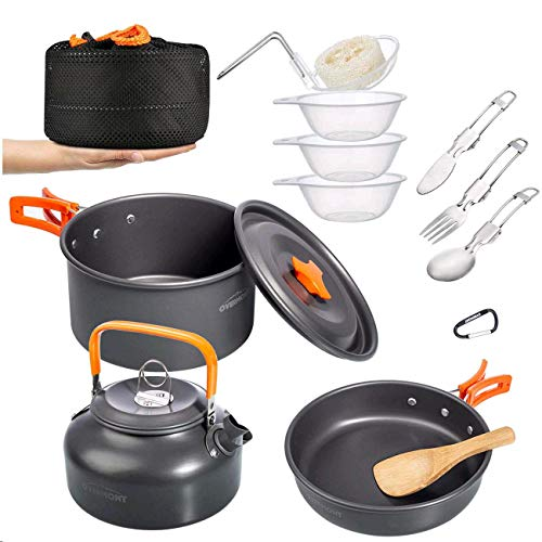 Overmont Camping Cookware Set Campfire Kettle Outdoor...