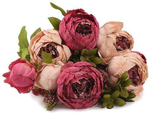 FiveSeasonStuff Ramos de Flores Seda Peonía Flor Artificial Estilo Europeo, Boda, Nupcial, Partido, Hogar, Oficina de la Decoración de DIY (Rosa Mixta)