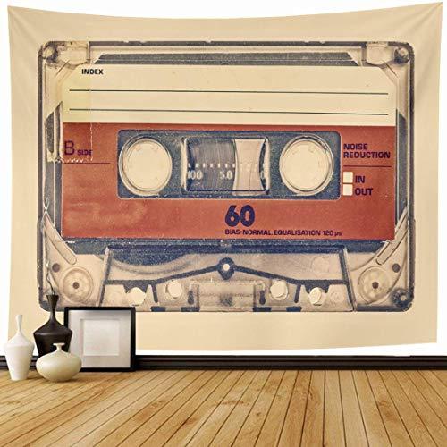 N\A Tapisserie Wandbehang Klebeband Braun Retro-Stil Alte Kompakte Kassette Vintage Musik Orange 80S Veraltete Schallplatte Wohnkultur Wandteppiche Dekoratives Schlafzimmer Wohnzimmer Wohnheim