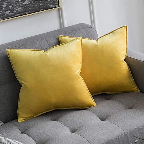 MIULEE Terciopelo Funda de Cojine Brida Funda de Almohada del Sofá Throw Cojín Decoración Almohada Caso de la Cubierta Decorativo para Sala de Estar 40x40cm 16x16 Inch 2 Piezas Amarillo Limón