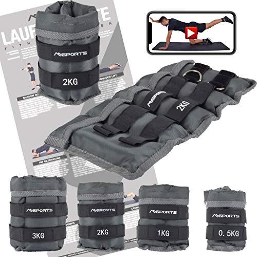 MSPORTS Gewichtsmanschetten Professional -einstellbar- Paar von 0,5-3 kg Fuß- und Hand-Gewichte inkl. Übungsposter + Work Out App GRATIS (2,0 kg Paar)