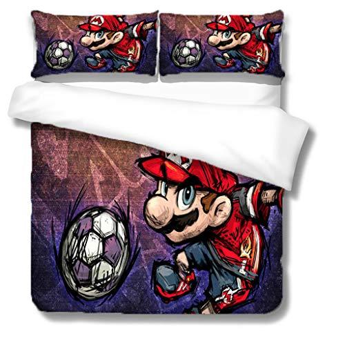 Zbeiba 3D Super Mario Bedding Set,2/3pieces Kids Bedding Set 100% Polyester (Duvet Cover + Pillowcase),#11,single duvet cover,135 * 200cm, Pillowcase 50x70cm