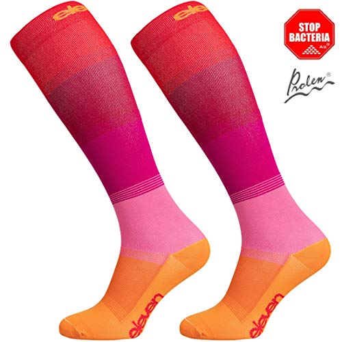 Eleven Kompressionsstrümpfe | Kompressionssocken | Laufsocken | Compression Socks | Strümpfe | Thrombosestrümpfe | Damen | Herren zum Sport, Laufen, Flug, Reise (Mono rot, S (EU 36-39))