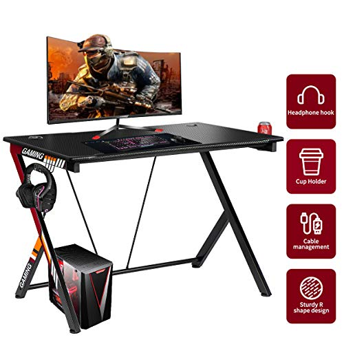 YODOLLA Gaming Desk 43.5' Home Office Computer Table, Gamer Workstation with Cup Holder, Headphone Hook & 2 Cable Management Holes