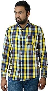 Darien Range Yellow Brown Checked 100% Cotton Slim Fit Casual Shirt
