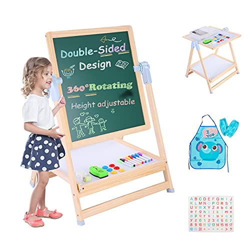 Easel for Kids, No Install & Foldable Kids Art Easel, Double-Sided Magnetic Easel for Kids with Letters and Numbers Magnets, Height Adjustable Standing Easel for Birthday Gift for Boys & Girls