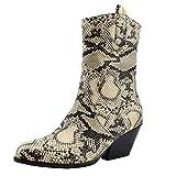 TAONEEF Damen Western Schlangendruck Stiefel Mid Heels Short Stiefel Ankle Boots Reißverschluss...