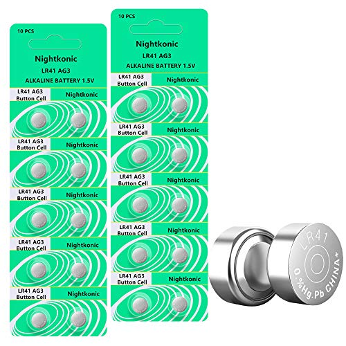 Nightkonic 20 pcs Pack LR41 AG3 SR41 392 384 192 Battery 1.5V Button Coin Cell Batteries