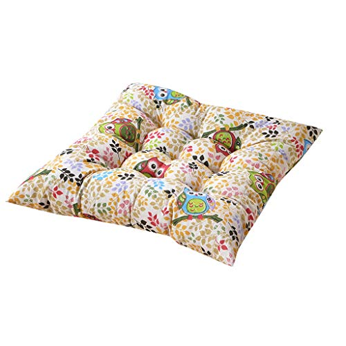 Yue668 - Cojín de color liso, cojín de algodón y lino, cojín antideslizante para sillones con correas de 40 x 40 cm