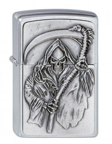Zippo Zippo Feuerzeug 2000856 Reapers Curse Emblem Benzinfeuerzeug, Messing Chrome