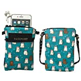 Cross Body Phone Pouch for Women, Tainada Universal Crossbody Dual Zippered Wallet Bag with Detachable Strap for iPhone 11/12 Pro Max, XR, Samsung S21, S20 FE, A52, A32 (Cats Pattern Turquoise)