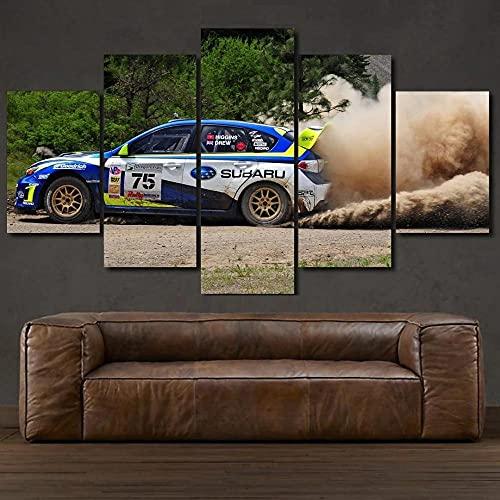 WKXZZS Rally Suba STI Sports Car Impresión de 5 Piezas Material Tejido no Tejido Impresión Artística Imagen Gráfica Decoracion de Pared Abstracto Oriente Cuadros Modernos Imagen