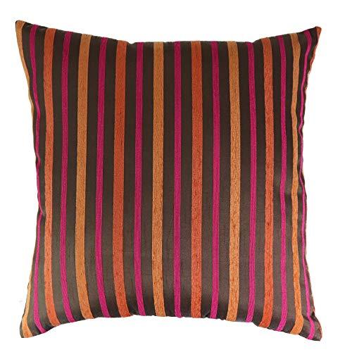 Elbersdrucke kussenhoes decokussen kussensloop sofakussen sierkussen 45 x 45 cm strepen bruin/rood/oranje