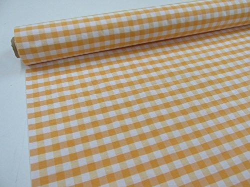 Confección Saymi Metraje 2,45 MTS Tejido Vichy Ref. Cuba Cuadro Medio 15x15 mm. Color Amarillo, con Ancho 2,80 MTS.