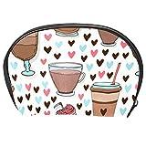 TIZORAX Kosmetiktasche mit Eiscreme- und Kaffeetasse, Reise-Organizer, Make-up-Tasche für Frauen und Mädchen